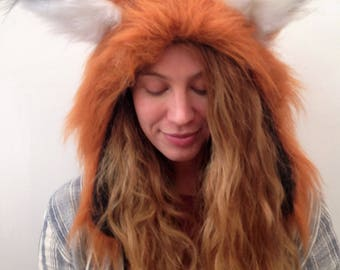 Furry Fox Hood, Festival Fox Ears, Animal Fancy Dress