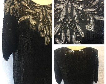 35% off Sale Vintage black silk beaded clubbing top Blouse small 1980