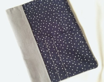 Blue and Gray Triangle Fabric Composition Notebook Cover - Reusable Journal Cover - Composition Book Included