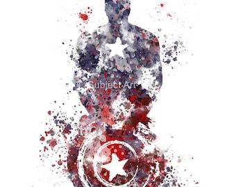 Captain America ART PRINT illustration, Superhero, Home Decor, Wall Art, Marvel