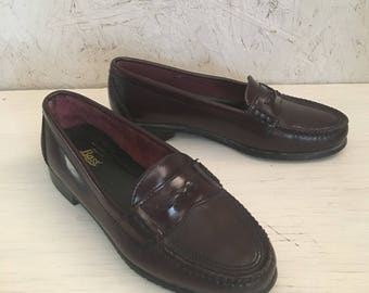 Vintage Women's Loafers, Bass Loafers, Oxblood Loafers, Leather Loafers Size 5 1/2