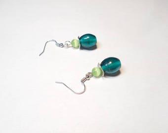 Indian glass beads and green cat's eye dangling earrings