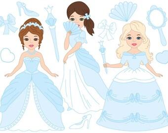 Princess Clipart - Digital Vector Princess, Girls, Fairy, Blue, Fairytale Clip Art