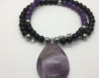 Amethyst Teardrop Pendant Necklace