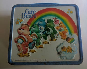 Care Bears 1985 Used Vintage Aladdin Metal Lunch Box  With Plastic Thermos