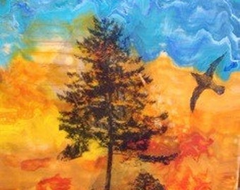 Original Encaustic Painting- Tree Series- Cazadero Hill