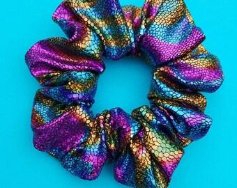 High Fashion / Holographic Rainbow Metallic Scrunchies / Hair Bobbles, Hair Ties,Ponytail, 90s, iridescent,Mermaid, Hologram