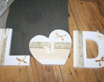 WEDDING letters in wood tones, white & gold country butterfly to ask