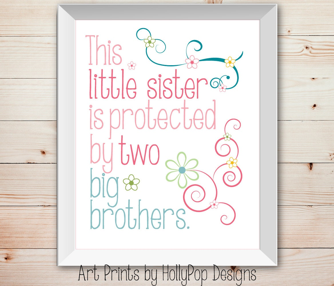 Little Brother Big Brother Quotes: Nursery Wall Decor Baby Girl Little Sister Big Brother Kids