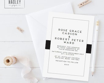 Printable wedding invitation set - Carson collection