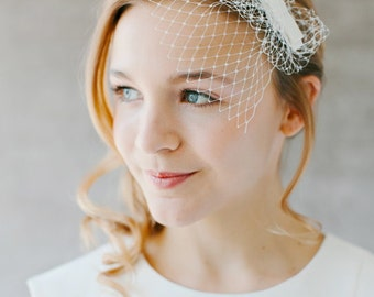 "Birdcage Wedding French Netting Headpiece - ""Audrey"""