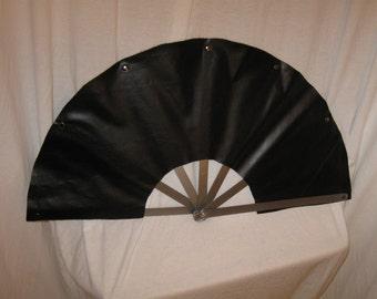 """13"""" Long Steel Rib and Leather Heavy Fan"""