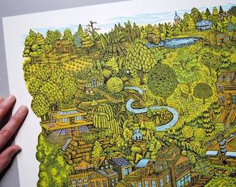 Community - Woodcut Print, Woodblock Print by Tugboat Printshop