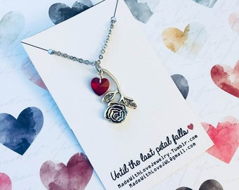 Beauty and the Beast Inspired Rose Drop Necklace