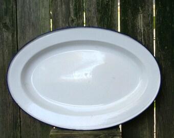 Vintage Sweden Enamel White with Navy Trim Serving Platter / Perfect for Holiday Serving