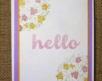 Bright, cheery, Hello, Greeting card, homemade, purple, yellow, green, Spring, Thank you