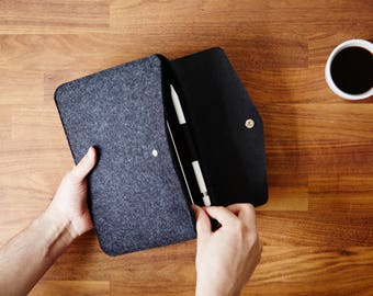 Google Pixelbook Case. EVO Envelope Collection. Leather Wool Felt Sleeve Case for Pixelbook.
