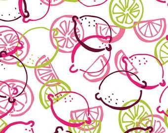Fabric - Lemon Toss Multi White, Fabric by the Yard, Cotton Fabric, Quilting Fabric, Fat Quarter, Lemon Fabric, Lemon Squeezy