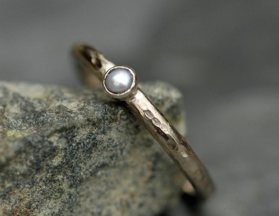 Seed Pearl on Recycled 14k Gold Ring- Made to Order in Yellow or White gold