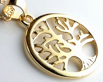 Vermeil Tree Of Life Necklace on Gold filled chain, Dainty Vermeil Minimalist Tree Life Jewelry
