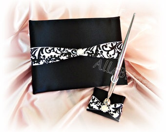 Damask Wedding Guest Book and pen set, black and white damask wedding accessories