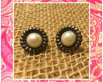Pearl and Silver Stud Earrings - Simple Pewter Pearl Studs - Pearl Earrings - Silver Stud Earrings - Plain Pearl Silver Earrings