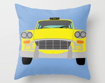 New York Yellow Taxi throw pillow cover-Cool Manhattan Cab Pillow-Floor pillow-Colourful Automobile Pillow-Kids room 16x16-18x18-20x20-26x26