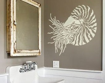 Nautilus Stencil for walls - NAUTILUS Shell - Reusable Wall STENCIL - Durable Wall Art/DIY Home Decor