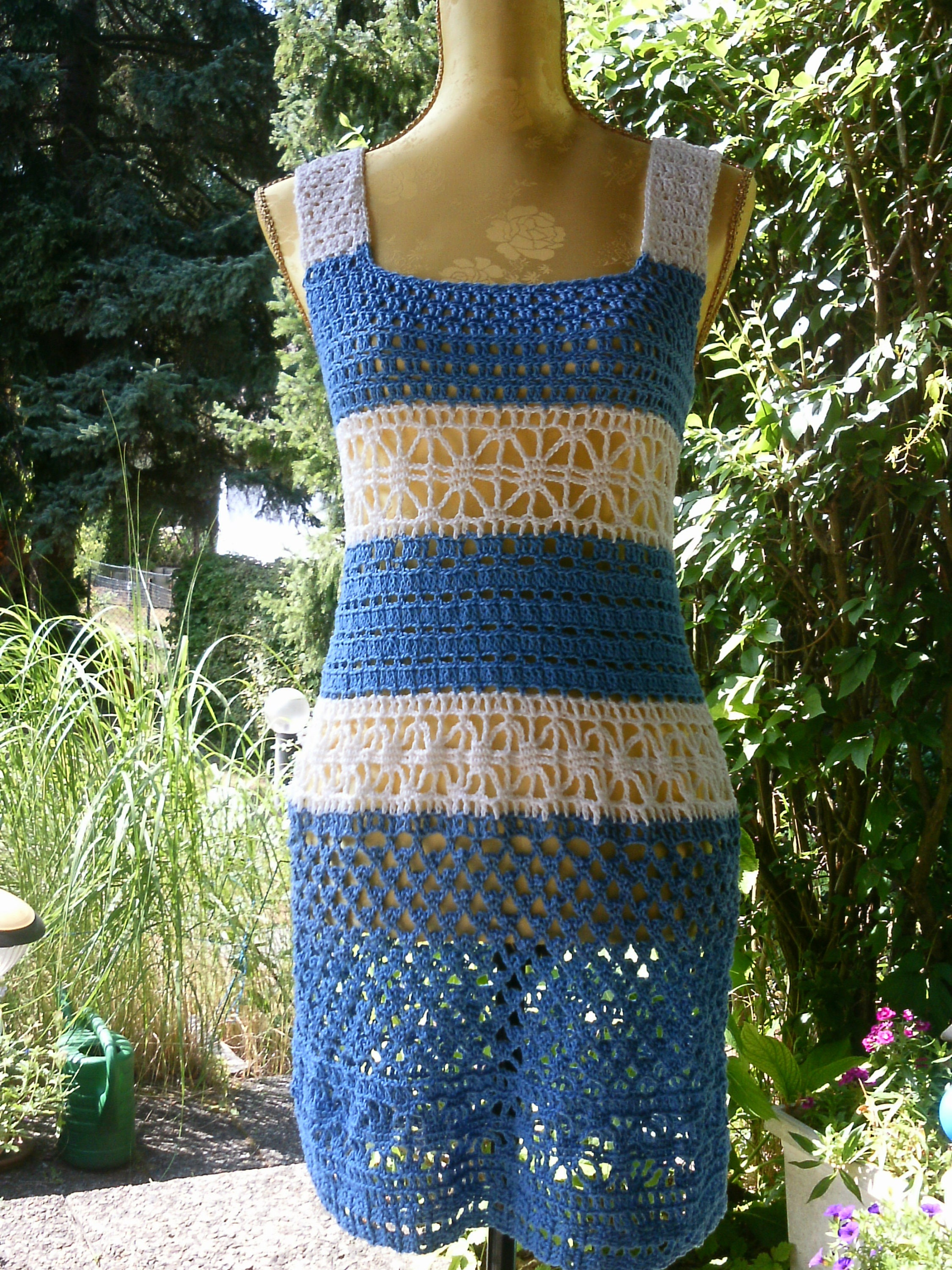 Crochet dress blue and white size 36-38 S-M.