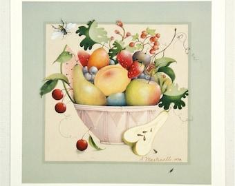 mini art print fruit vegetable folk art