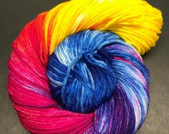 Oscar Worsted, Hand Dyed Yarn, Worsted weight, number 4, 10 ply, Hand dyed, medium weight, hand dyed, HauteKnitYarn, Yarn, Whoa! Rainbow