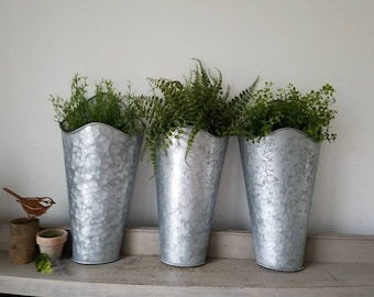 2 galvanized metal wall pocket planter with faux plants choice