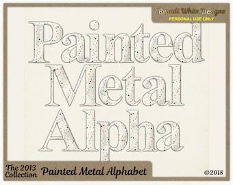 Digital Alphabet, Painted Metal, Dot Alphabet, Scrapbook Alphabet, Clip Art Alphabet