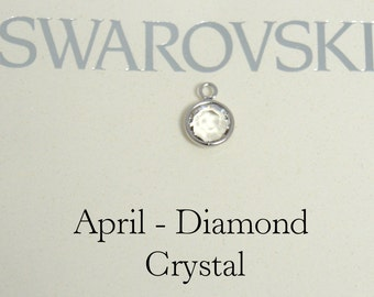 Swarovski birthstone charm, April birthstone charm, Crystal charm