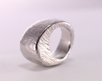 Silver Dome Ring, Brushed Silver Ring, Rustic Ring, Italian Jewelry, Boho Ring