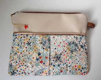 Organizer bag, pouch makeup, medicines, Liberty of London and leatherette, stars, original gift and cheap