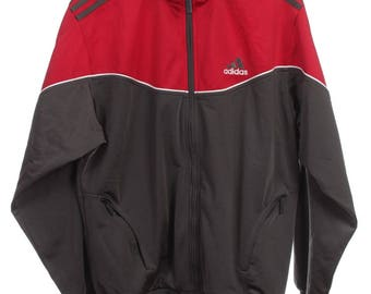 Vintage Adidas Windbreaker Tracksuit top jacket Multicolor Gray/White/Red Size S