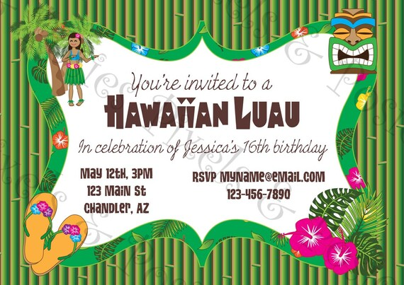 Dashing image pertaining to hawaiian party invitations free printable