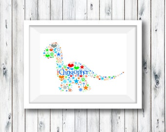 Personalised Name Print, Personalised Print, Nursery Print, Baby, Naming Day, Baby Keepsake, Communion, Custom Butterfly, Custom Dinosaur