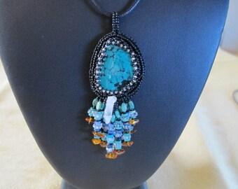 Necklace-Tourquoise-crystals-amber-blue lapis-sodalite-blue topaz-healing jewelry-mystic quartz-ancient  primitive-earthy-nature-quartz