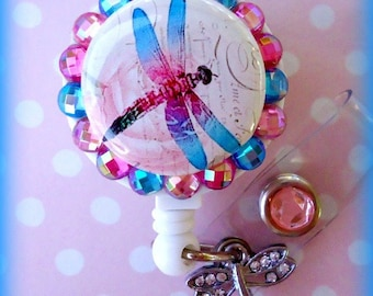 Pink dragonfly badge ID reel holder (E217)