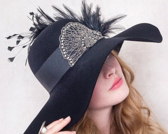 Boho Large Brim Hat Black and Silver Felt Hat, Feather Hat, Floppy Brim, Millinery