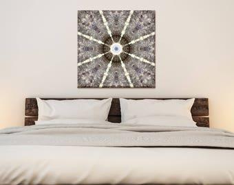 Smoky Quartz Mandala Art ~  Large Crystal Cluster Wall Art ~ Nature Mandala Canvas Print ~ Modern Bedroom and Living room Accessories