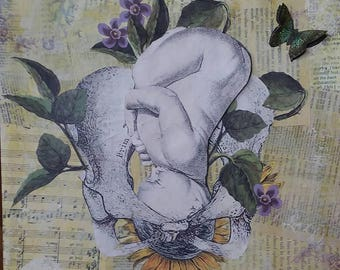 Coming Through. Birth. Collage art original. Midwife, Doula, Pregnancy art. 3D.