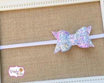 Pink and Blue Glitter Bow Headband, Glitter Hair Bow, Glitter Headband, Baby Headband, Toddler Headband, Nylon Headband, Glitter Hair Clips