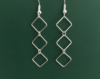 One LEFT!! Silver metal 3 squares  earrings.