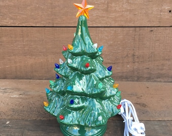 Vintage Style Ceramic Christmas Tree with Lights - Handpainted Forest Green - Small - #5