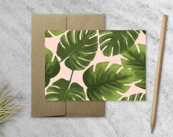 Boxed Set of 10 Monstera Leaf Cards with Kraft Envelopes, Blank Note Cards