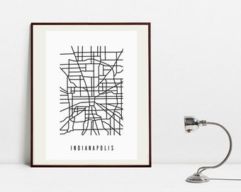 Indianapolis Abstract Map - Black and White Art Print -  Digital Download Art Print