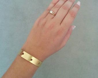 Gold Bracelet, Cuff Bracelet, Gold Cuff, Gold Bangle, Stars Cuff Gold, Bangle Bracelet, Stare Bracelet, Bridesmaid Gift, Bridal Jewellery
